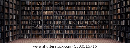 Bookshelves in the library with old books 3d render 3d illustration stock photo
