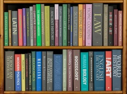 Bookshelves with books covering a variety of topics. (All spines have been fabricated to avoid copyright issues.)