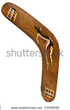 Boomerang with painted kangaroo, isolated on white background