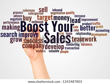 Boost Your Sales word cloud and hand with marker concept on white background.