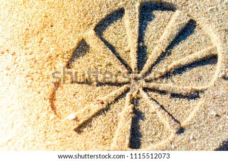 Boot imprint on a wet sand. Macro. #1115512073