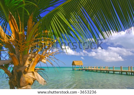 boot pijler aan baaikant in zonnige Florida sleutels - stock photo