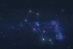 Bootes constellation stars in outer space. Bootes constellation lines. Elements of this image were furnished by NASA