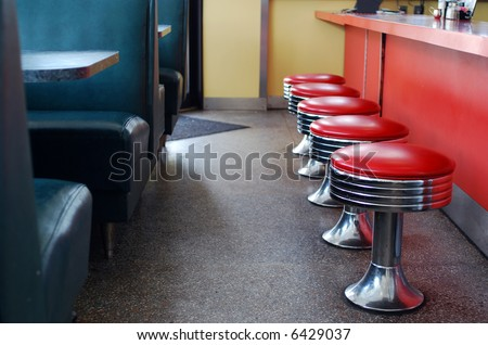 booths and seats at an empty diner