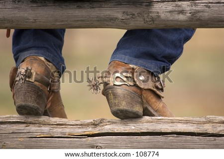 cowboy boots with spurs. stock photo : oots and spurs