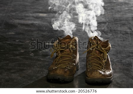 Boots with smoke coming from them