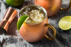 Boozy Bourbon Kentucky Mule Cocktail with Ginger Beer and Lime