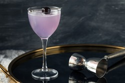 Boozy Refreshing Aviation Cocktail with Gin and Violette Liquor