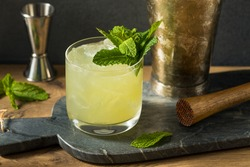 Boozy Refreshing Chartreuse Smash with Mint and Lemon