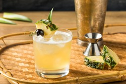 Boozy Refreshing Mai Tai Cocktail with Rum and Pineapple