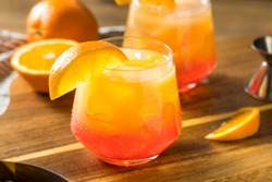 Boozy Refreshing Tequila Sunrise Cocktail with Grenadine