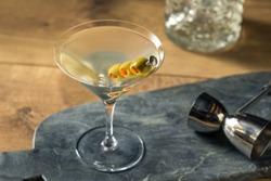 Boozy Traditional Dirty Martini with Olive Garnish