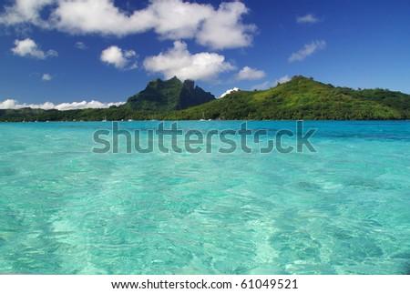 Bora Bora and its turquoise lagoon in French Polynesia - stock photo