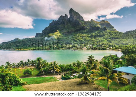 Bora Bora and Mount Otemanu nature landscape in Tahiti, French Polynesia with coral lagoon sea and Mt Pahia, Mt Otemanu, Tahiti, south Pacific Ocean Stock photo ©