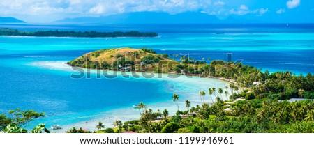Bora Bora beach with turquoise water, Tahiti, French Polynesia #1199946961