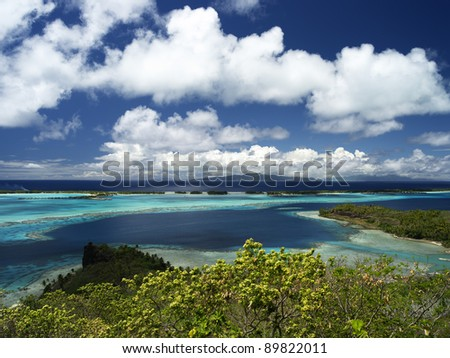 Bora Bora Lagoon with Raiatea and Tahaa in Background From Above on a Sunny Day, 40 MPixel native resolution