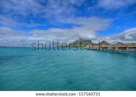 Bora Bora. View over beautiful turquoise lagoon to volcanic Mount Otemanu, Bora Bora Island, Society Islands, French Polynesia.