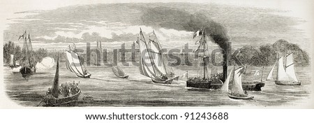 Bordeaux sea race old illustration. Created by Godefroy-Durand after Gorin, published on L'Illustration, Journal Universel, Paris, 1858