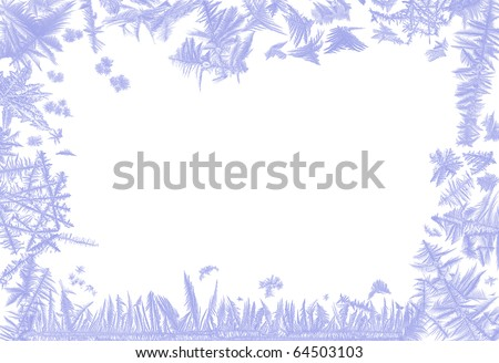 Border frame made of real ice flowers of several frosted windows