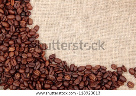 Border frame of coffee beans