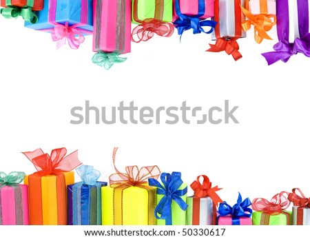 Border frame of Colorful gifts boxes with  ribbons bows, card  isolated  on white background