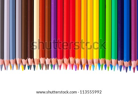 Border from multicolored pencil with copyspase