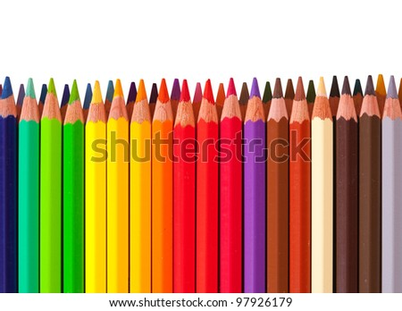 Border from multicolored pencil with copyspase - stock photo