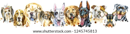 Border from watercolor portraits of dogs for decoration