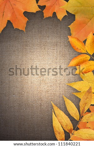 Border made from autumn leaves on canvas background with free space for text