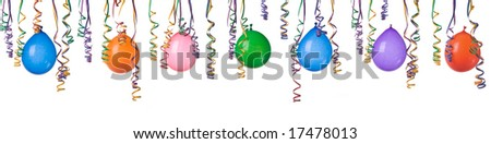 Border made from colorful balloons and confetti isolated on white background XXL easy to separate and make your own design