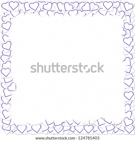 border made from little hearts in the color blue