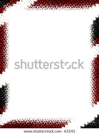 Border made of knitted sweater texture.  Red, black, white.