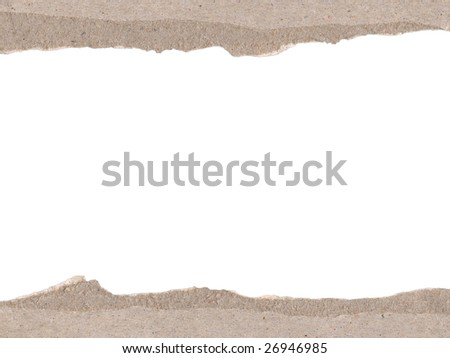 Border made of torn cardboard. Clipping path included.