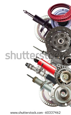 Border of  automobile parts. Isolated on white