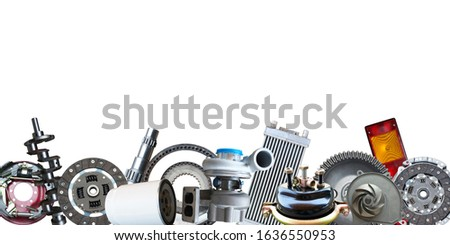Border of car parts isolated on white background.