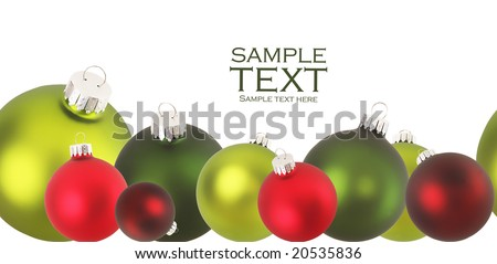 Border of Christmas ornaments in red and green. Sides match up to make a continuous border if needed.
