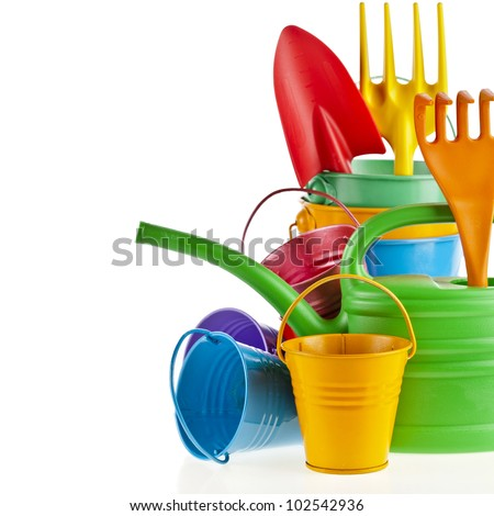 Border of Colorful Gardening Tools :  Watering can, bucket, spade over white background