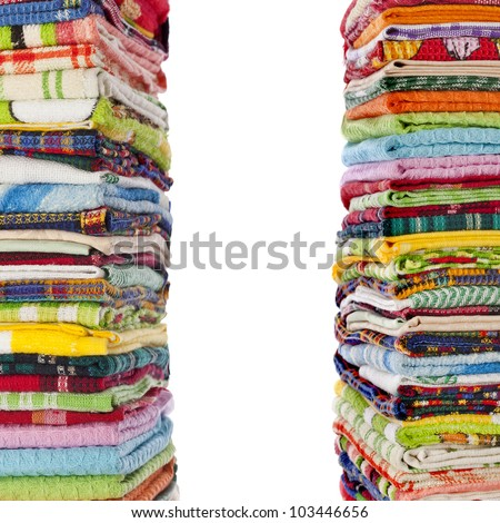 Border of colorful Kitchen towels on white background