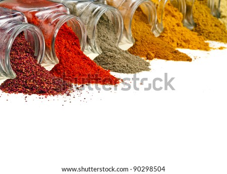 border of  colorful powder spices in glass bottle with copy space , isolated on white background