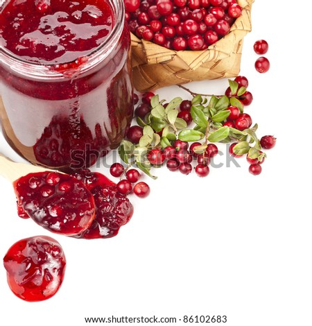 border of cranberries produce isolated on white background