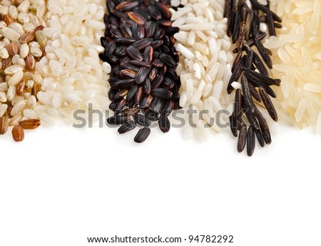 border of different types of rice  isolated on white background