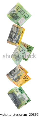 Border of falling Australian money.  Fifty and hundred dollar notes raining down, isolated on white.