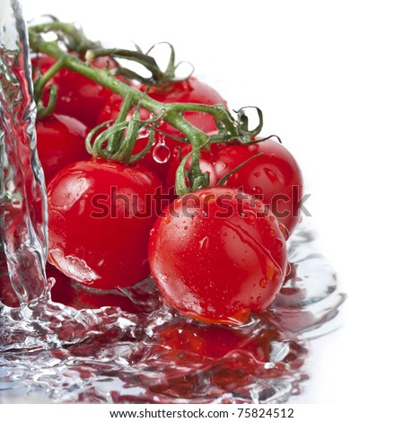border of fresh  tomatoes with pouring water isolated on white background