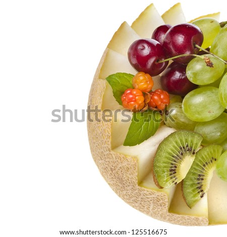 border of fruit basket isolated on white