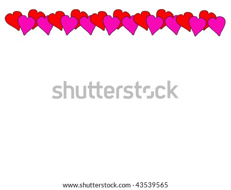 Border of red and pink hearts over a white background
