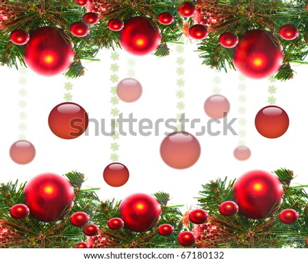 Border of red christmas garland with baubles and ribbons on white.