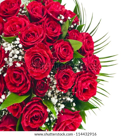 Border of Red roses bouquet isolated on the white background