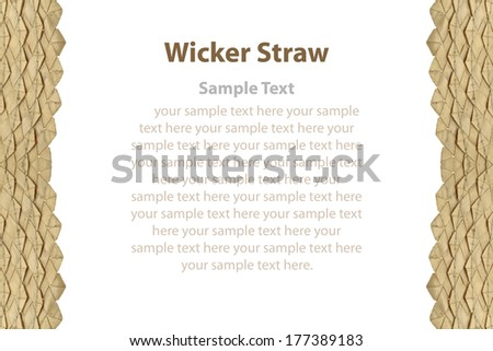 Border of wicker straw with sample text on white background.