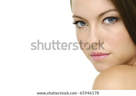 Border of young smiling woman with healthy skin