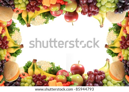 Border or frame of colorful fruits and vegetables like grapes, bananas ...